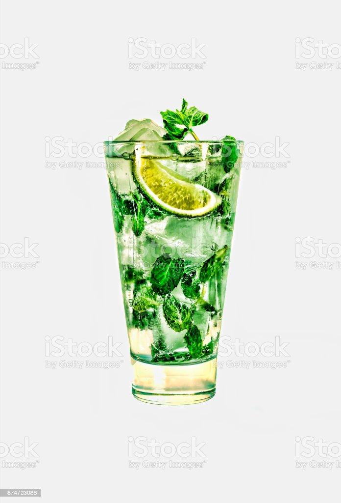 Fresh mojito cocktail isolated on white background. stock photo