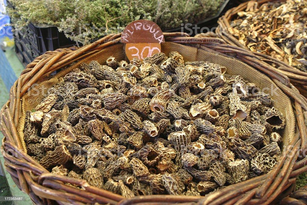 Fresh Morels at Market royalty-free stock photo