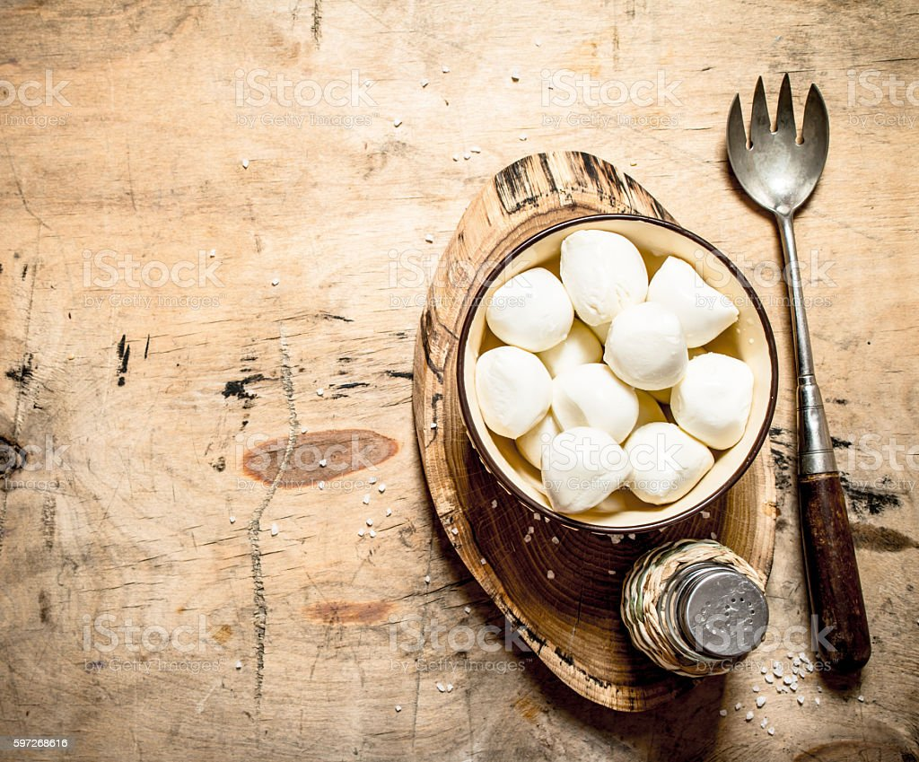 Fresh mozzarella in a bowl. royalty-free stock photo