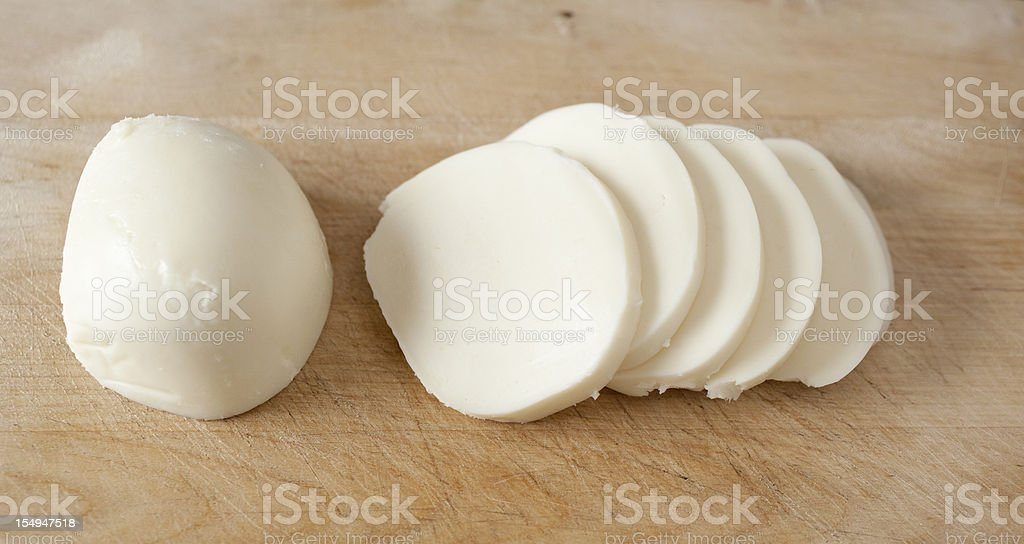 Fresh Mozzarella Slices stock photo