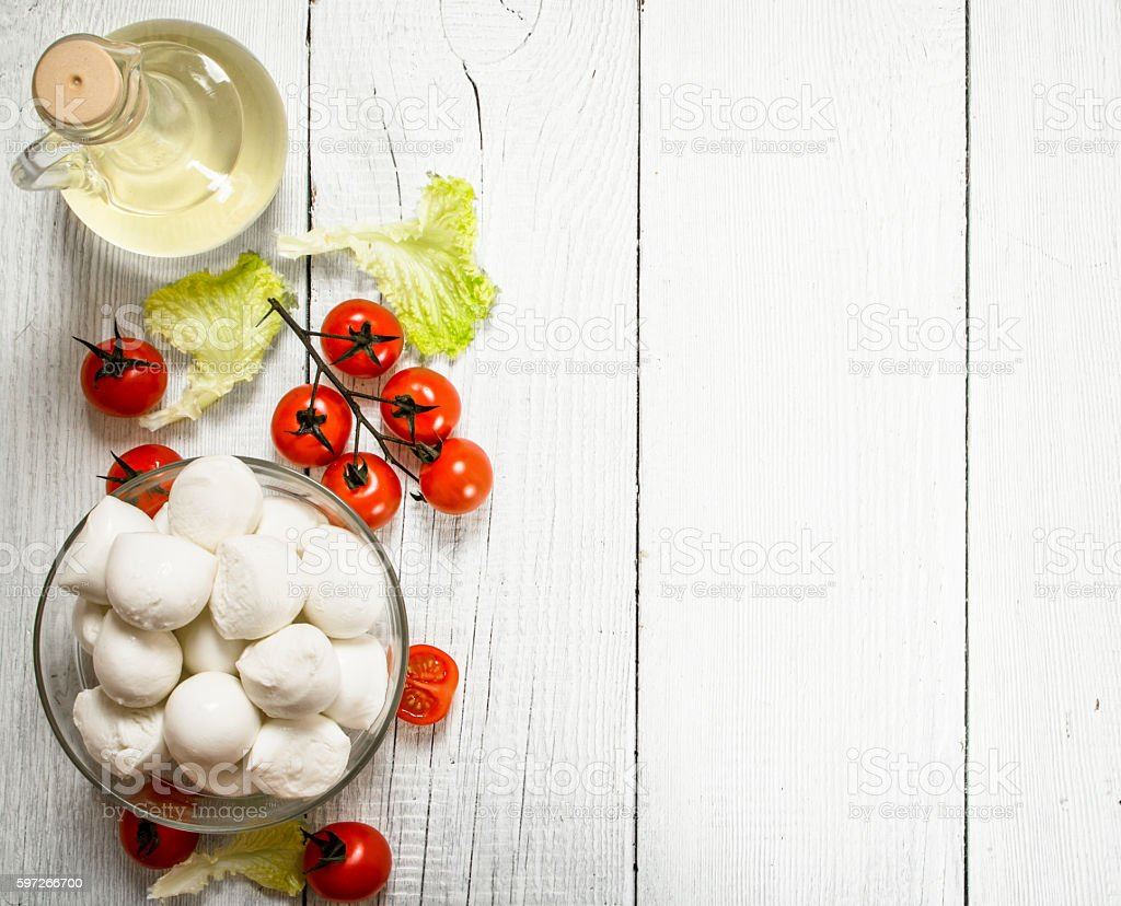 Fresh mozzarella with olive oil, tomatoes and herbs. royalty-free stock photo