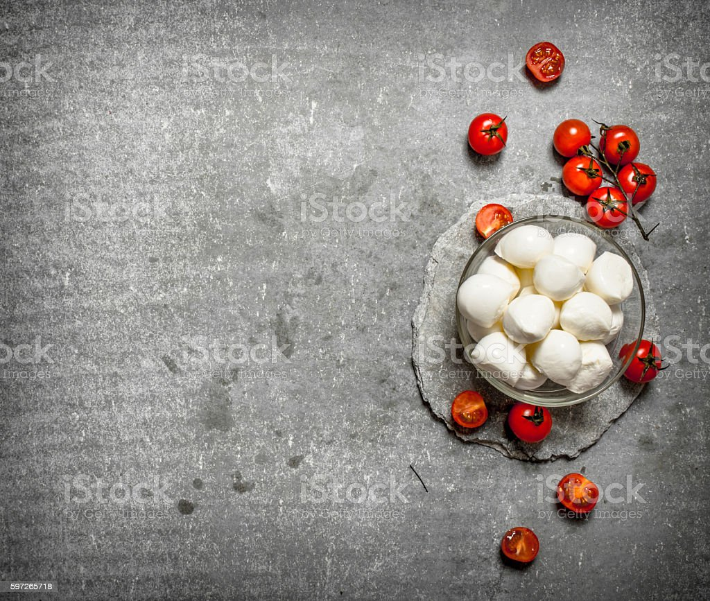 Fresh mozzarella with tomatoes. royalty-free stock photo