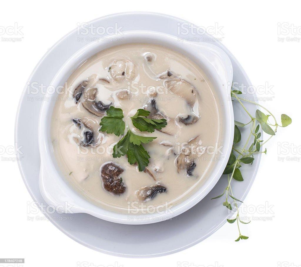 Fresh Mushroom Soup (on white) stock photo
