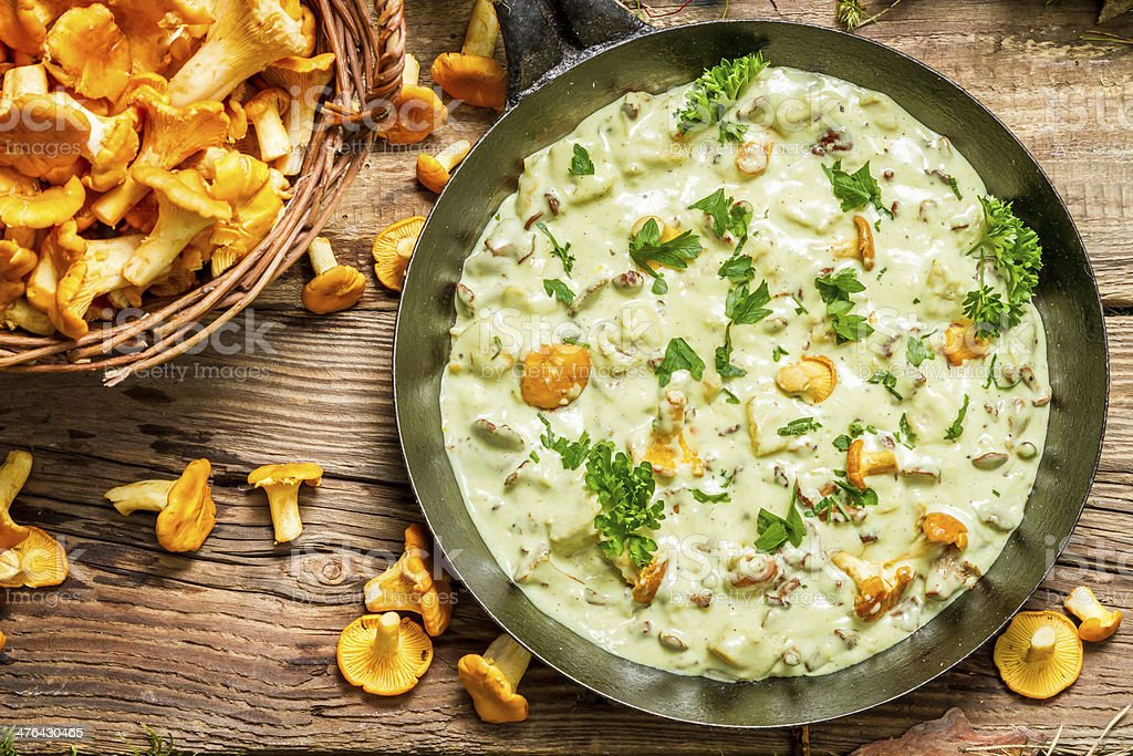 Fresh mushrooms cooked in a pan with cream royalty-free stock photo