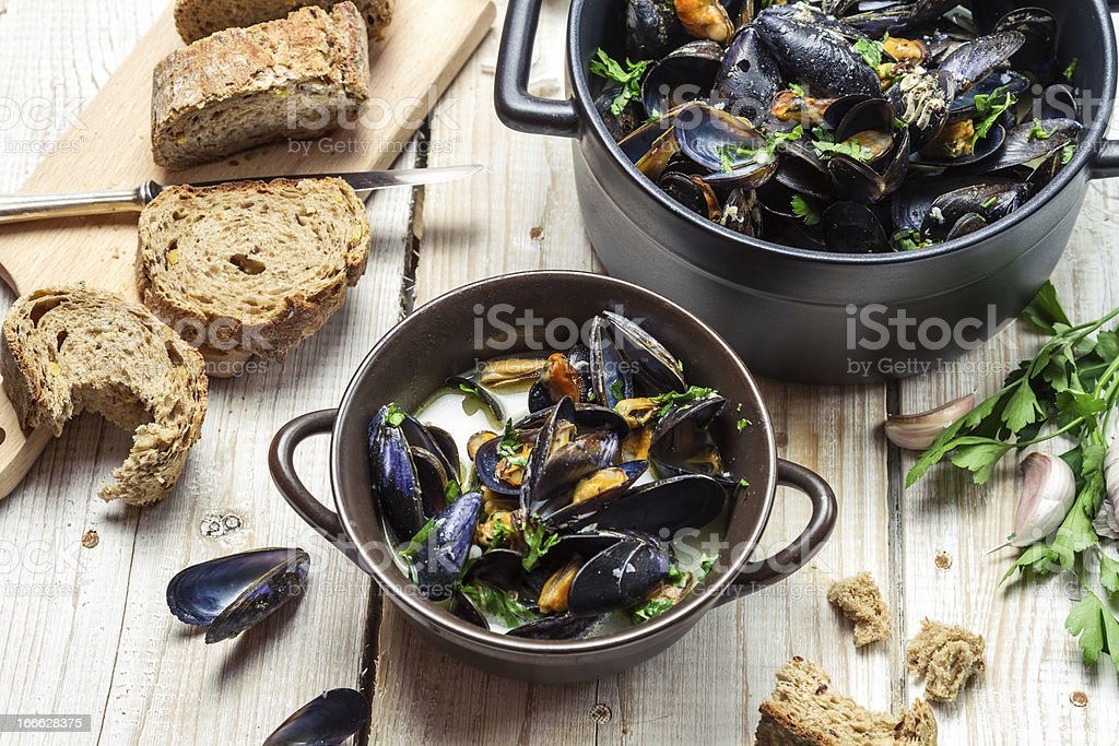Fresh mussels served in a sunny day royalty-free stock photo