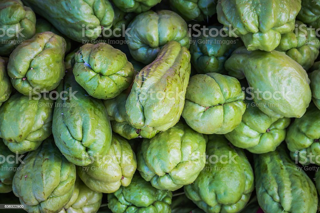 Fresh natural and organic of chayote fruits in market. stock photo
