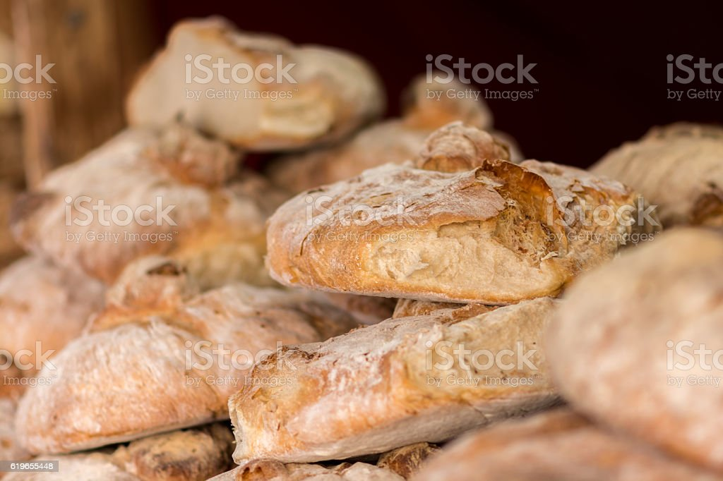 Fresh natural baked bread stock photo