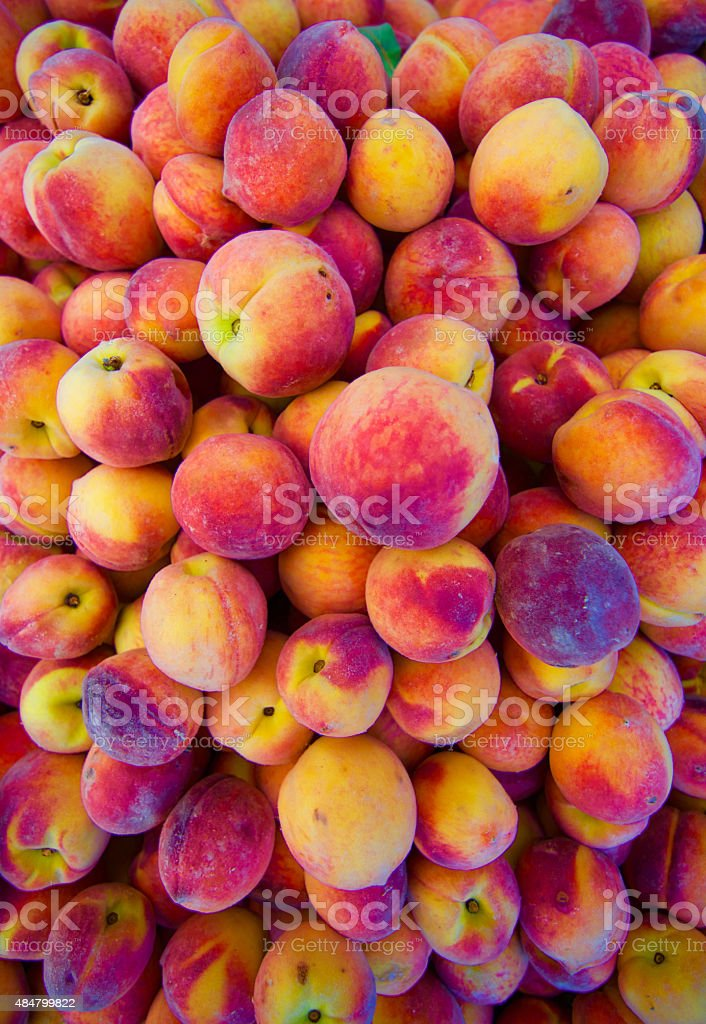 Fresh Natural Organic Peaches, Full Frame Organic Food Background stock photo