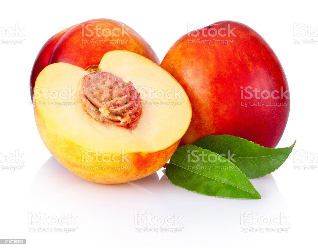 Fresh nectarines fruit isolated on white background stock photo