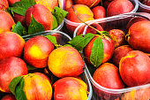 fresh, ripe nectarines in plastic boxes offered for sale at a fruit market in the Plako section of Athens