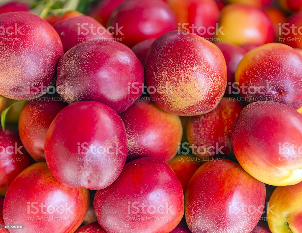 Fresh nektarine on the market royalty-free stock photo