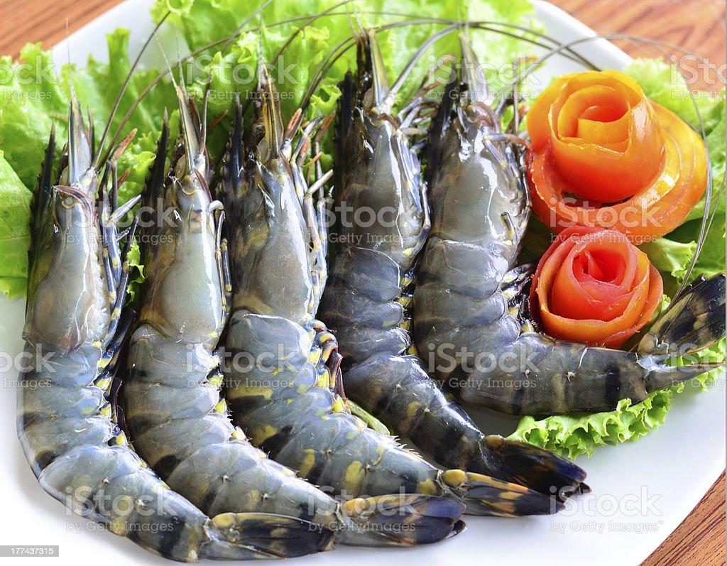 Fresh of Tiger prawns royalty-free stock photo