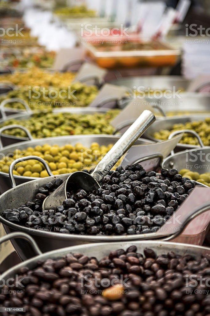 Fresh olives at Sineu market, mallorca, Spain stock photo