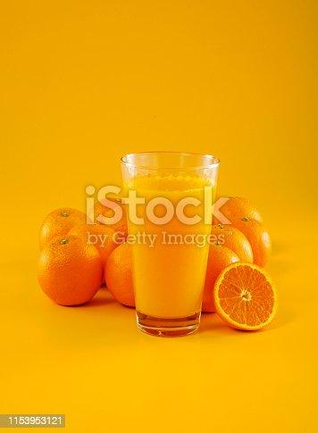 Orange and orange juice on orange background.