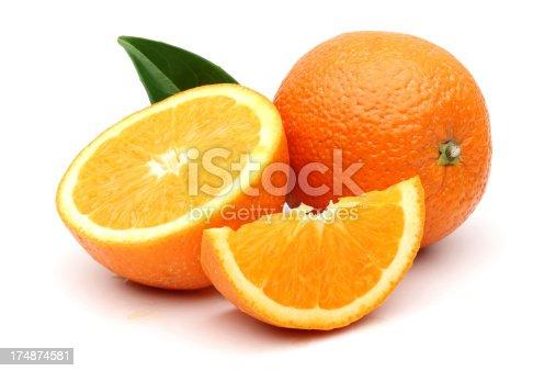 Fresh Orange with cut isolated on white background