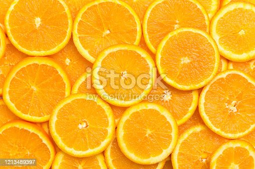 Fresh orange fruit slices pattern background, close up