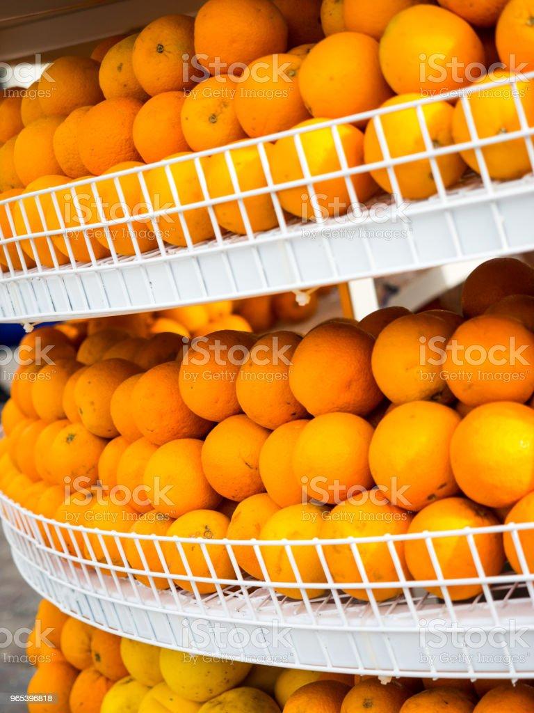 Fresh orange fruits on street market in Turkey royalty-free stock photo