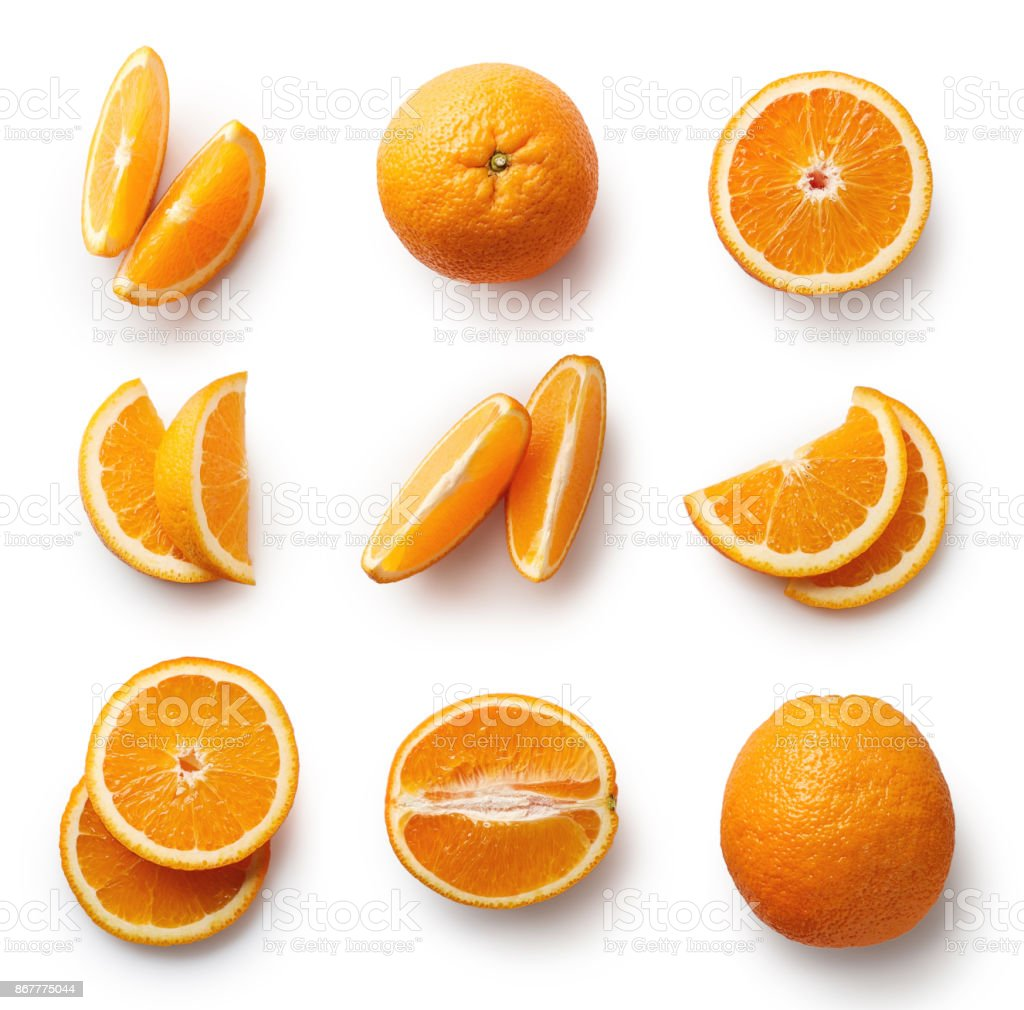 Fresh orange isolated on white background stock photo