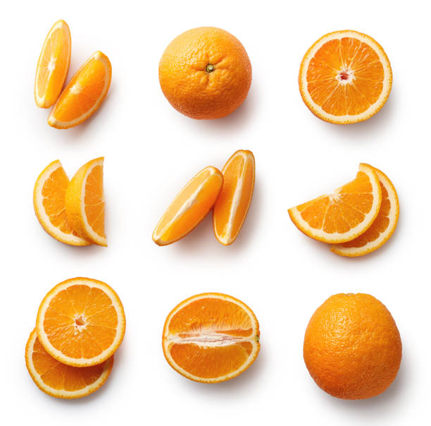 fresh orange isolated on white background - high angle view stock pictures, royalty-free photos & images