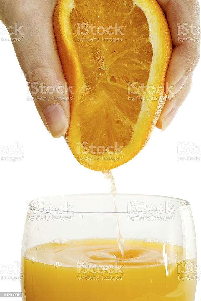 fresh orange juice for breakfast stock photo