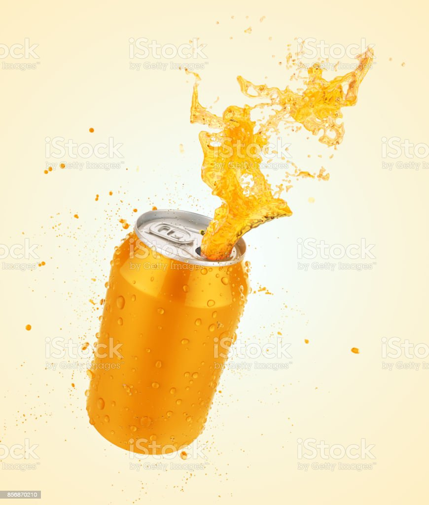 fresh Orange juice splash can stock photo