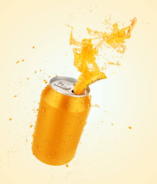 fresh orange juice splash can - bottle soft drink foto e immagini stock