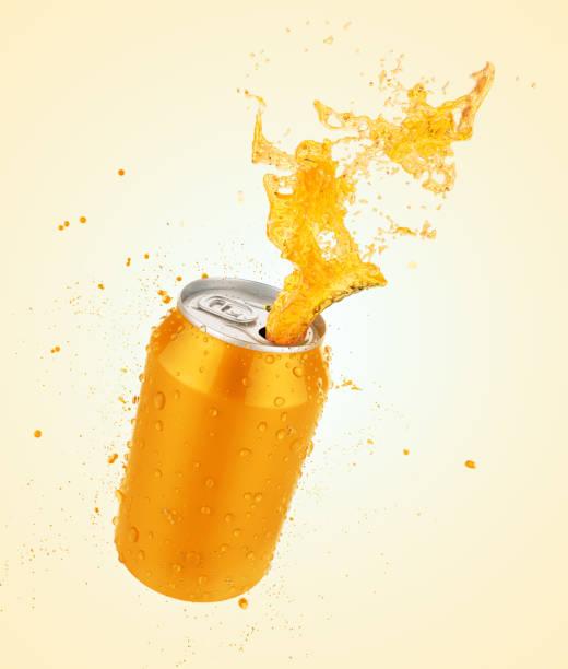 fresh orange juice splash can - fruit juice bottle isolated foto e immagini stock