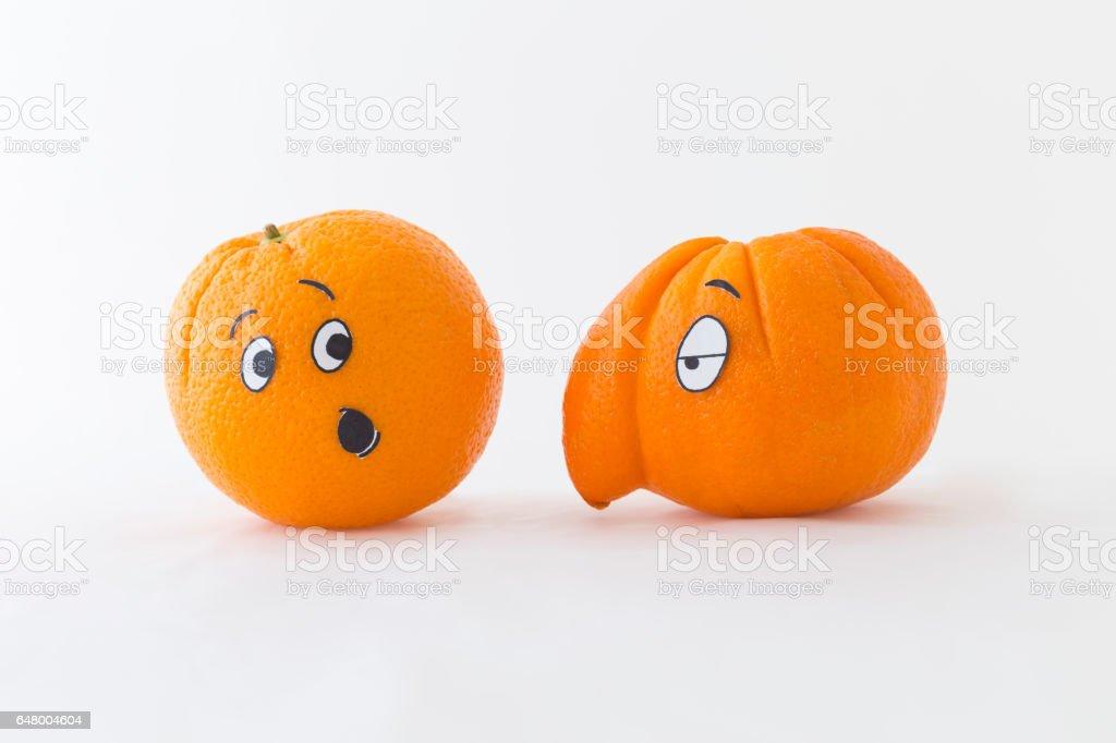 Fresh orange with big nose stock photo