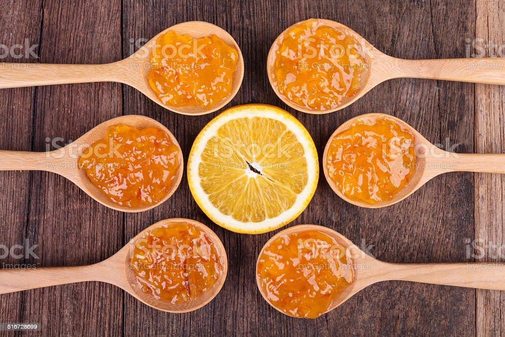 fresh orange with  jam stock photo