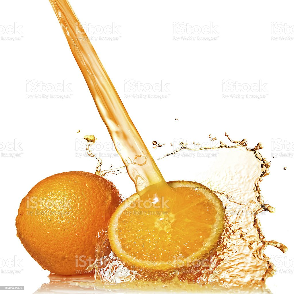 Fresh orange with splash of juice isolated on white royalty-free stock photo