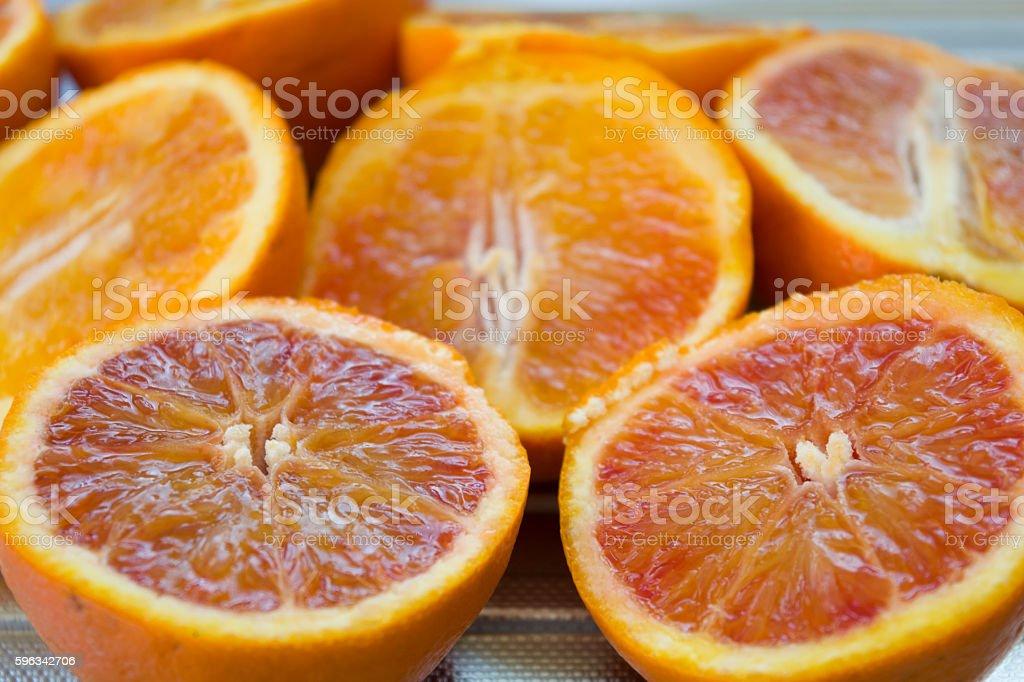 fresh oranges cut half royalty-free stock photo