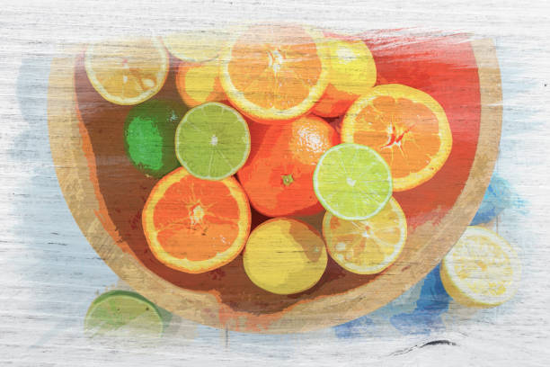 Fresh oranges, limes and lemons, watercolor painting stock photo