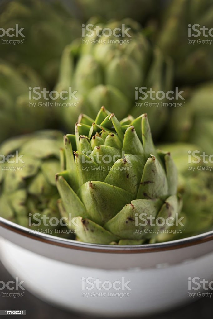 Fresh Organic Artichokes royalty-free stock photo