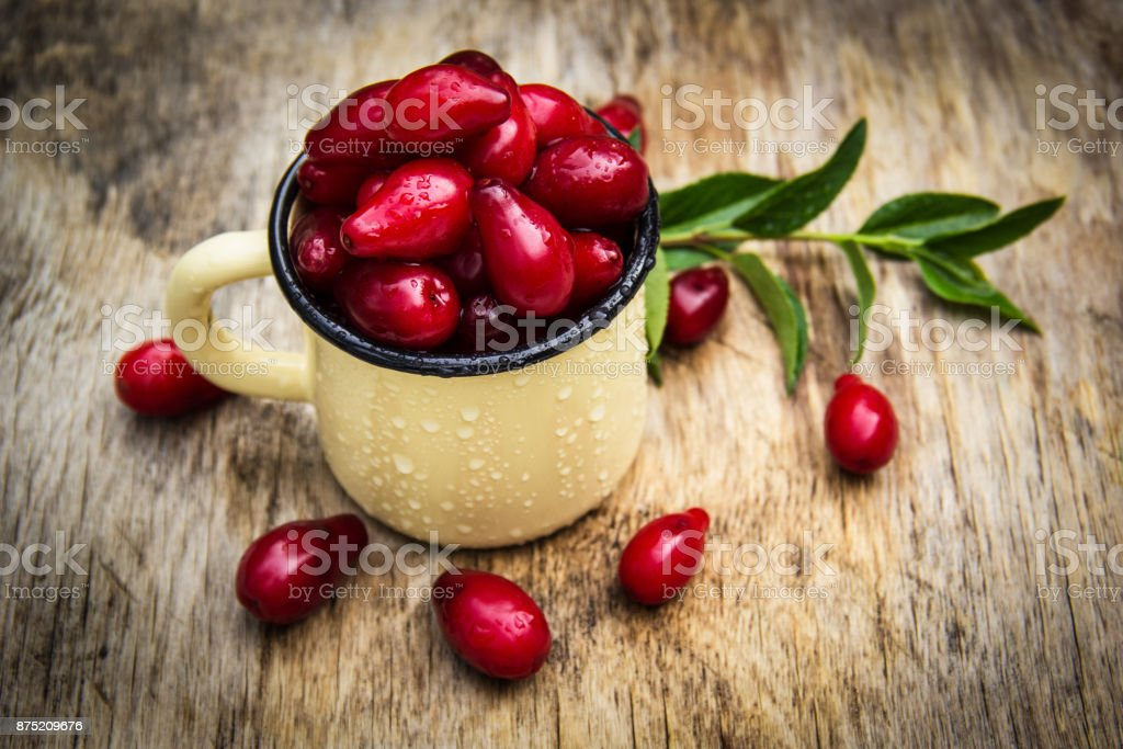 Fresh organic berries dogwood in the iron cup on the old wooden table. stock photo