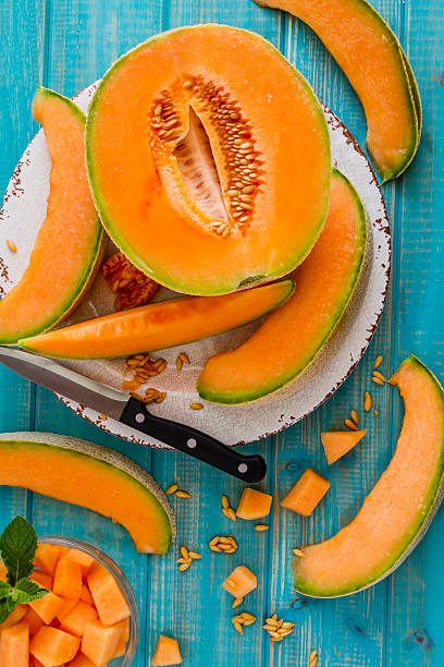 Fresh organic cantaloupe melon stock photo
