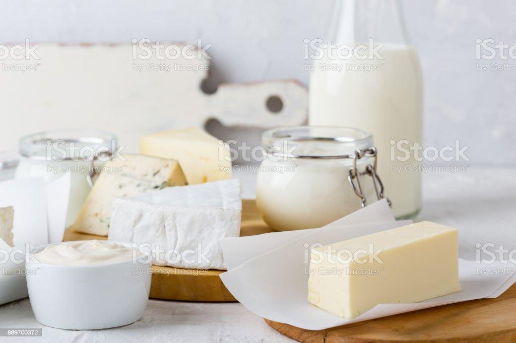 Fresh organic dairy products stock photo