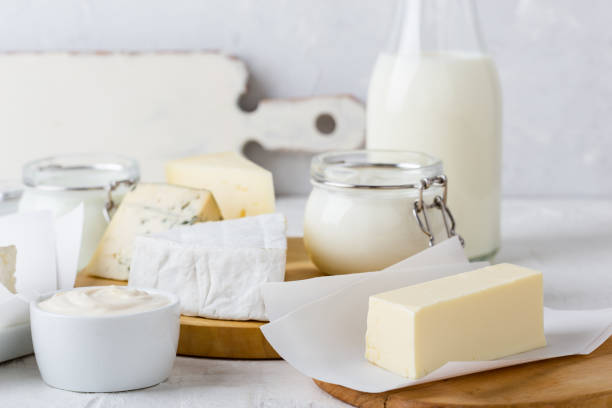 Fresh organic dairy products stock photo