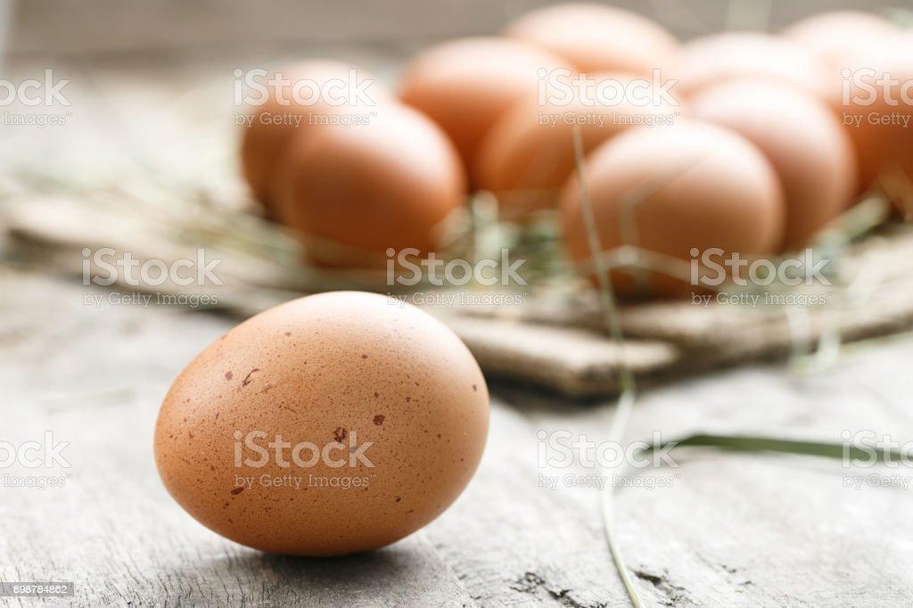 fresh organic farm eggs lie on burlap stock photo