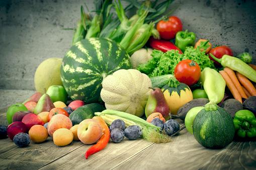 istock Fresh organic food, seasonal fruit and vegetable in healthy eating - healthy diet 1155918579