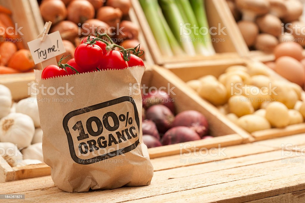 Fresh organic fruit and vegetables stock photo