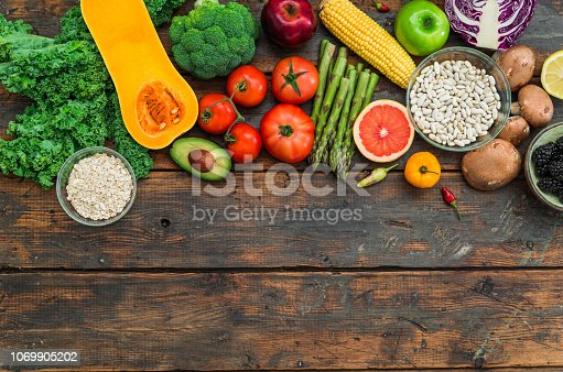 istock Fresh organic fruit and vegetables, white beans, oatmeal, and blackberries. Concept of cooking and eating healthy food, fitness, dieting, vegetarian food, vegan cuisine and healthy lifestyle. Ingredients good for heart and diabetes. 1069905202