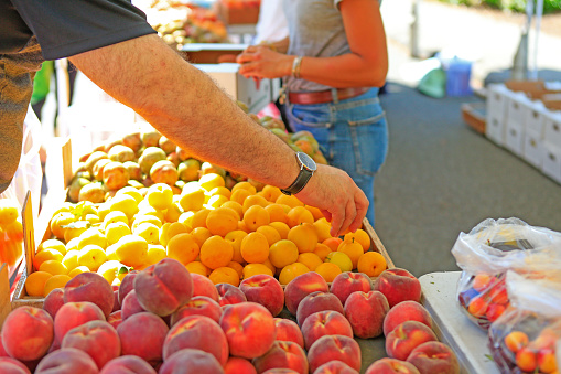 Fresh organic fruits at the local farmers' market.