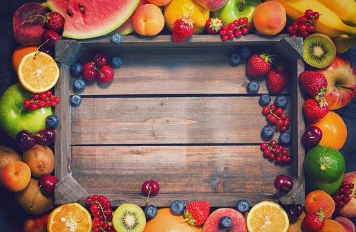 istock Fresh Organic Fruits Background 694224938