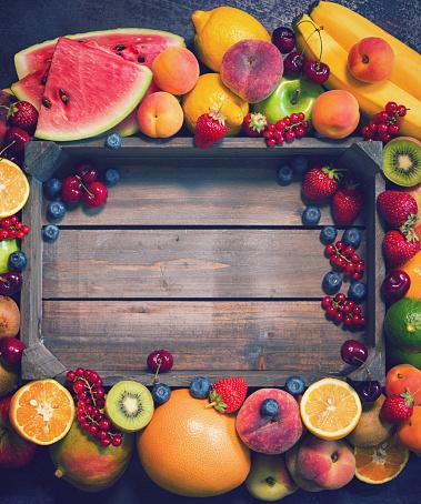 istock Fresh Organic Fruits Background 694227502