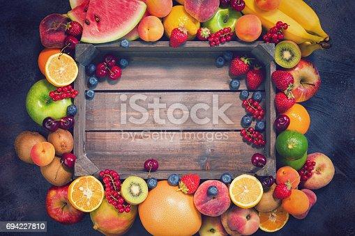 istock Fresh Organic Fruits Background 694227810