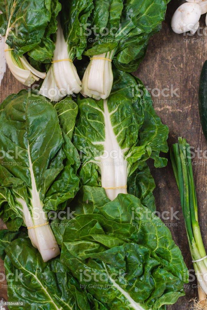 Fresh organic green chard stock photo