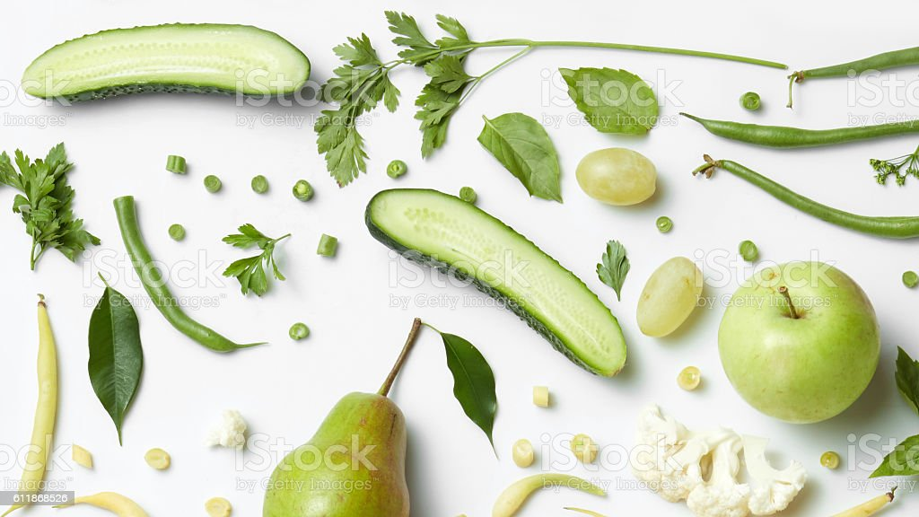 fresh organic green vegetables and fruits stock photo