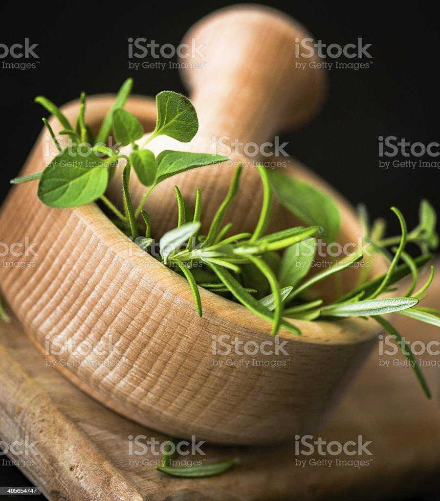 Fresh Organic Oregano and Rosemary in Mortar royalty-free stock photo