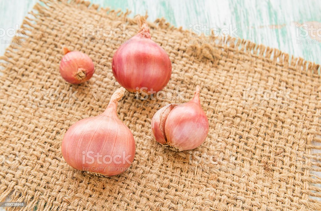 Fresh organic red onion on burlap sack stock photo