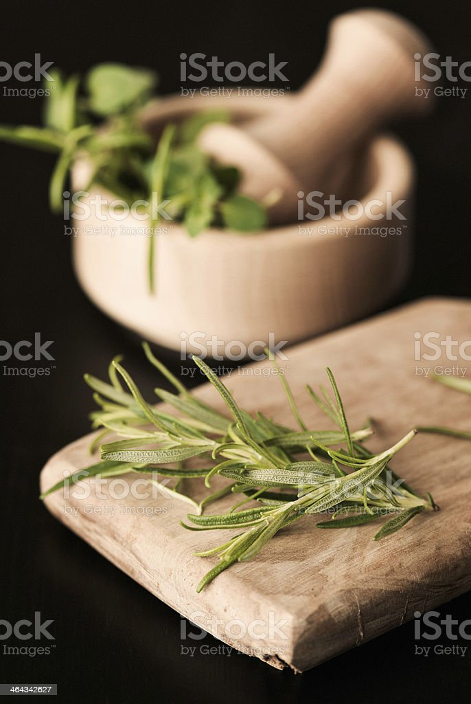 Fresh Organic Rosemary with Mortar and Pestle royalty-free stock photo